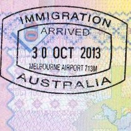 {amp}lt;Штамп: ИММИГРАЦИЯ ; ВЪЕЗД 30 ОКТЯБРЯ 2013; АВСТРАЛИЯ; Аэропорт Мельбурн 713М.{amp}gt;